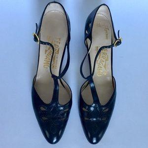 Salvatore Ferragamo Cutout T Strap Shoes Size 7AAA